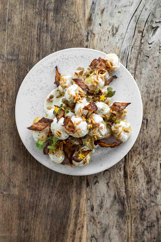 Kartoffelsalat med dijonnaise og bacon · 1