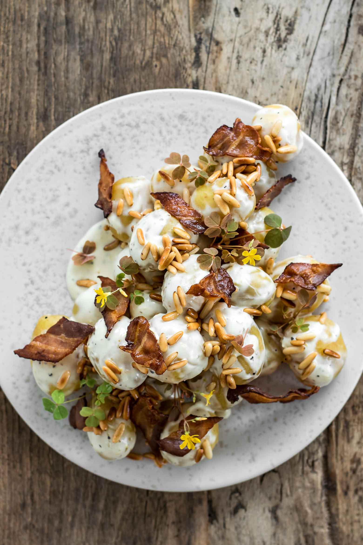 Kartoffelsalat med dijonnaise og bacon · 2
