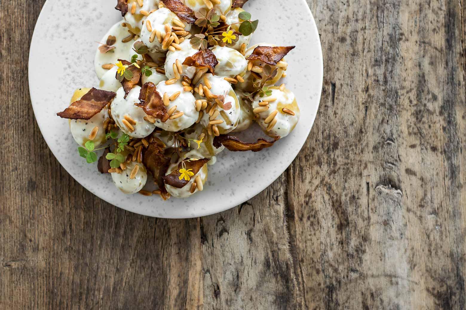 Kartoffelsalat med dijonnaise og bacon · 4